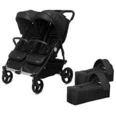 Casualplay Playxtrem Set športový kočík pre dvojičky Baby Twinn + 2 x vanička Cot - Irongate (Black)