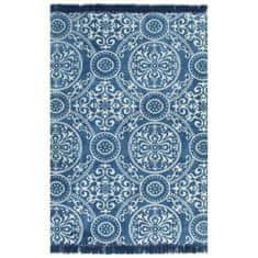 shumee Koberec Kilim se vzorem bavlněný 160 x 230 cm modrý