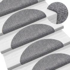 shumee Samolepiace kobercové nášľapy na schody 15ks 56x16x4cm svetlosivé
