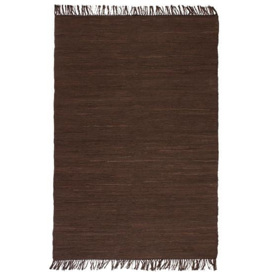 Greatstore Ručne tkaný koberec Chindi, bavlna 120x170 cm, hnedý