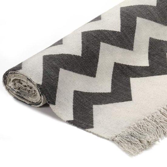 shumee Dywan typu kilim, bawełna, 120 x 180 cm, czarno-biały ze wzorem
