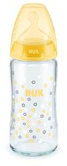 Nuk FC+ cumisüveg üvegből 240 ml, S, V1-M sárga