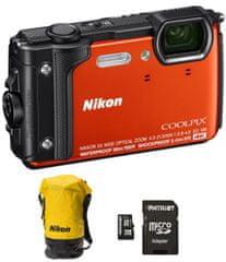 Nikon fotoaparat Coolpix W300, oranžen + SD32GB + nahrbtnik