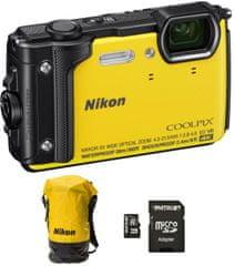 Nikon fotoaparat Coolpix W300, rumen + SD32GB + nahrbtnik