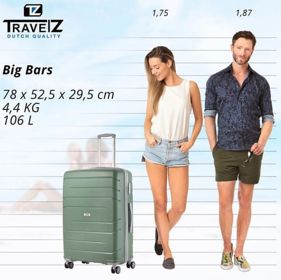 TRAVEL Z Sada kufrov Big Bars Olive 3-set