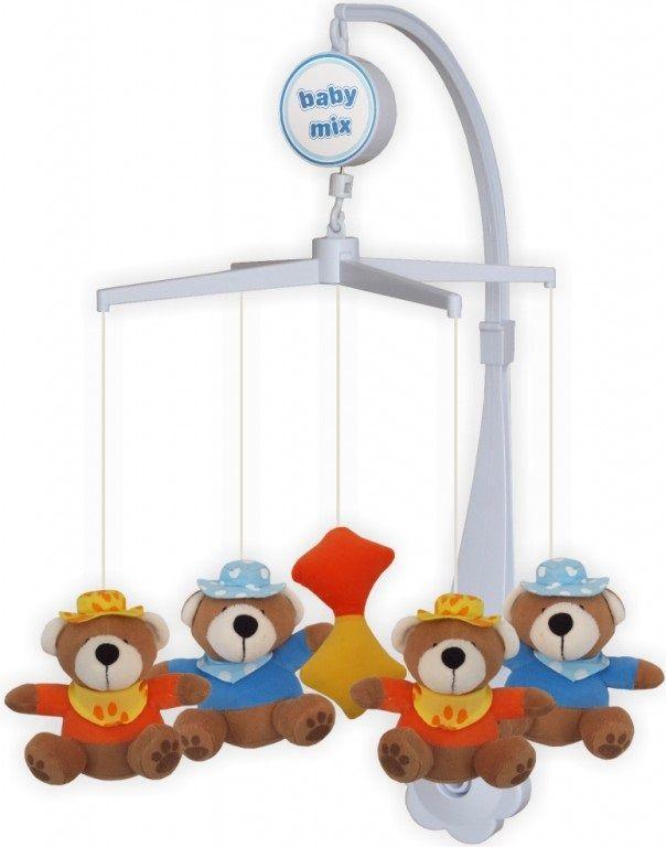 Baby Mix Plyšový kolotoč nad postýlku - Medvídci s klouboukem