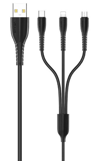 USAMS SJ367 U35 Datový Kabel 3v1 Black (EU Blister) (2449732)