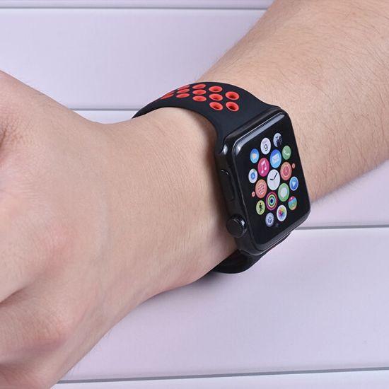 4wrist Szilikon szíj Apple Watch - Fekete/Piros 42/44 mm