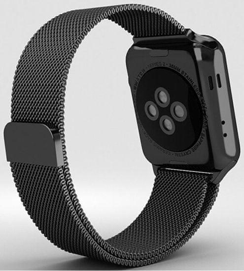 4wrist Ocelový milánský tah pro Apple Watch - Černý 38/40 mm