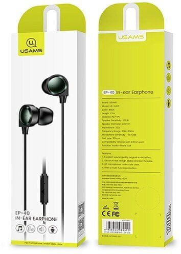 USAMS EP-40 In-Ear Stereo 1.2m Headset 3,5mm Black (HSEP4001)