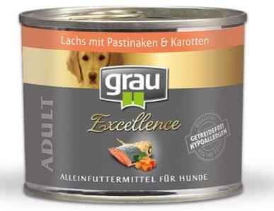Grau Excellence psi losos/pastinak/korenje, brez žit, 6 x 200 g