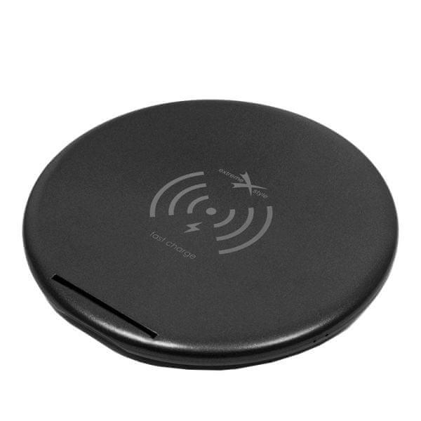 EXTREME STYLE Bezdrátová síťová nabíječka, 230V, černá, dodáváno s kabelem USB micro, horizontální i vertikální