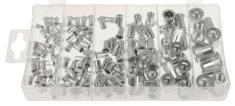 GEKO Maticové nýty - nýtovací matice, M3 - M10, plochá hlava, hliník, sada 150 kusů