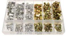 GEKO Maticové nýty - nýtovací matice, M3 - M10, plochá hlava, ocel a hliník, sada 300 kusů