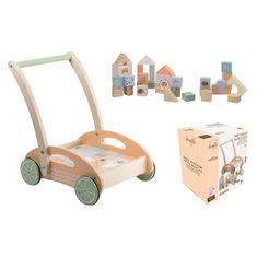 Jouéco the Wildies Family drevený vozíček s kockami 12m+