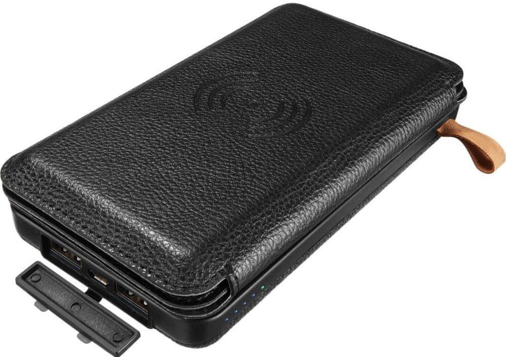 Sandberg Solar 4-Panel + Powerbank 12000 mAh, 2× USB, Wireless Qi, černá (420-46)