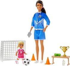 Mattel Barbie trenerka nogometa s punčko in igralen komplet rjavolasa trenerka