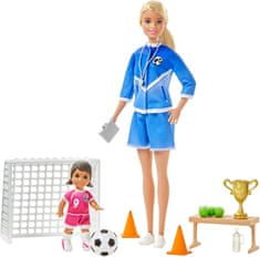 Mattel Barbie trenerka nogometa s punčko in igralen komplet plavolasa trenerka