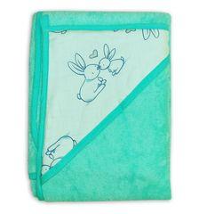 Tega Baby Ręcznik niemowlęcy z kapturem Króliczek 100x100 - Miętowy