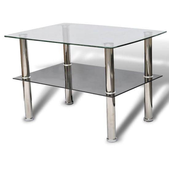 shumee Szklany stolik kawowy z półką