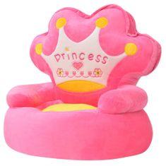 shumee Plyšové dětské křeslo Princess růžové
