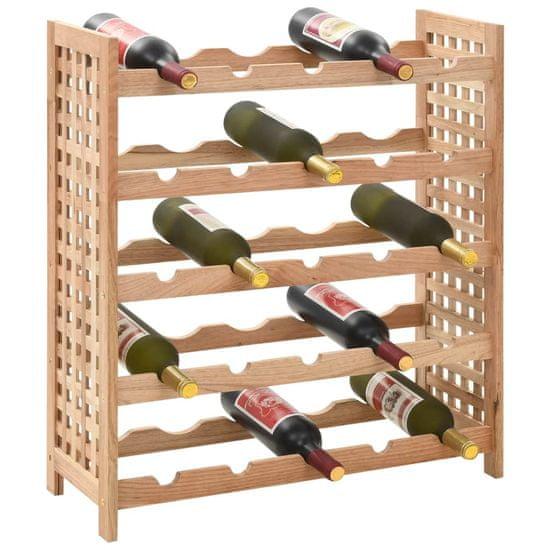 shumee Stojalo za vino iz trdne orehovine za 25 steklenic 63x25x73 cm