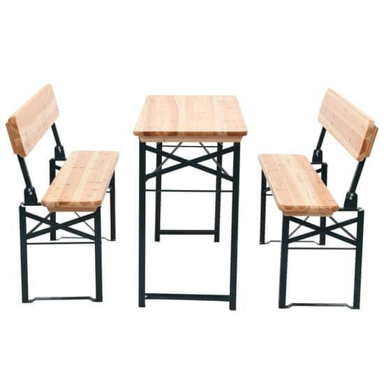 shumee Składany stół biesiadny z 2 ławkami, 118 cm, drewno jodłowe