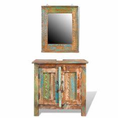 shumee Kúpeľňový nábytok z recyklovaného dreva: skrinka pod umývadlo, zrkadlo