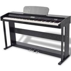 shumee 88klávesové digitální piano s pedály černá melaminová deska