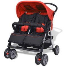 Greatstore Dvojni otroški voziček jeklo rdeč in črn