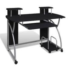 shumee Mobilna računalniška miza z izvlečno polico Črni zaključek