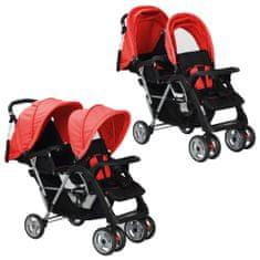 Greatstore Dvojni otroški voziček jeklen rdeče in črne barve