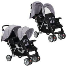 Greatstore Dvojni otroški voziček jeklen sive in črne barve