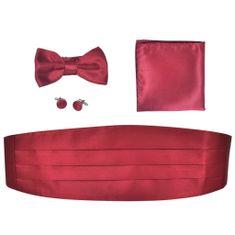 shumee Férfi haskütő & nyakkendő szett burgundi bőr szín