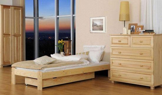Importworld Dřevěná postel Pavlína 90x200 + rošt ZDARMA - Borovice