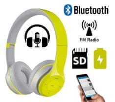 Platinet FH0915B naglavne Bluetooth slušalke, mikrofon, microSD, FM radio, AUX-in, zložljive, sivo/zelena