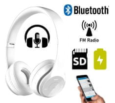 Platinet FH0915B naglavne Bluetooth slušalke, mikrofon, microSD, FM radio, AUX-in, zložljive, bela