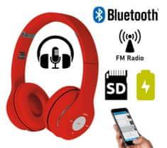 Platinet FH0915B naglavne Bluetooth slušalke, mikrofon, microSD, FM radio, AUX-in, zložljive, rdeča
