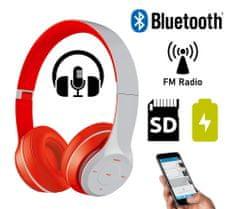 Platinet FH0915B naglavne Bluetooth slušalke, mikrofon, microSD, FM radio, AUX-in, zložljive, sivo/rdeča