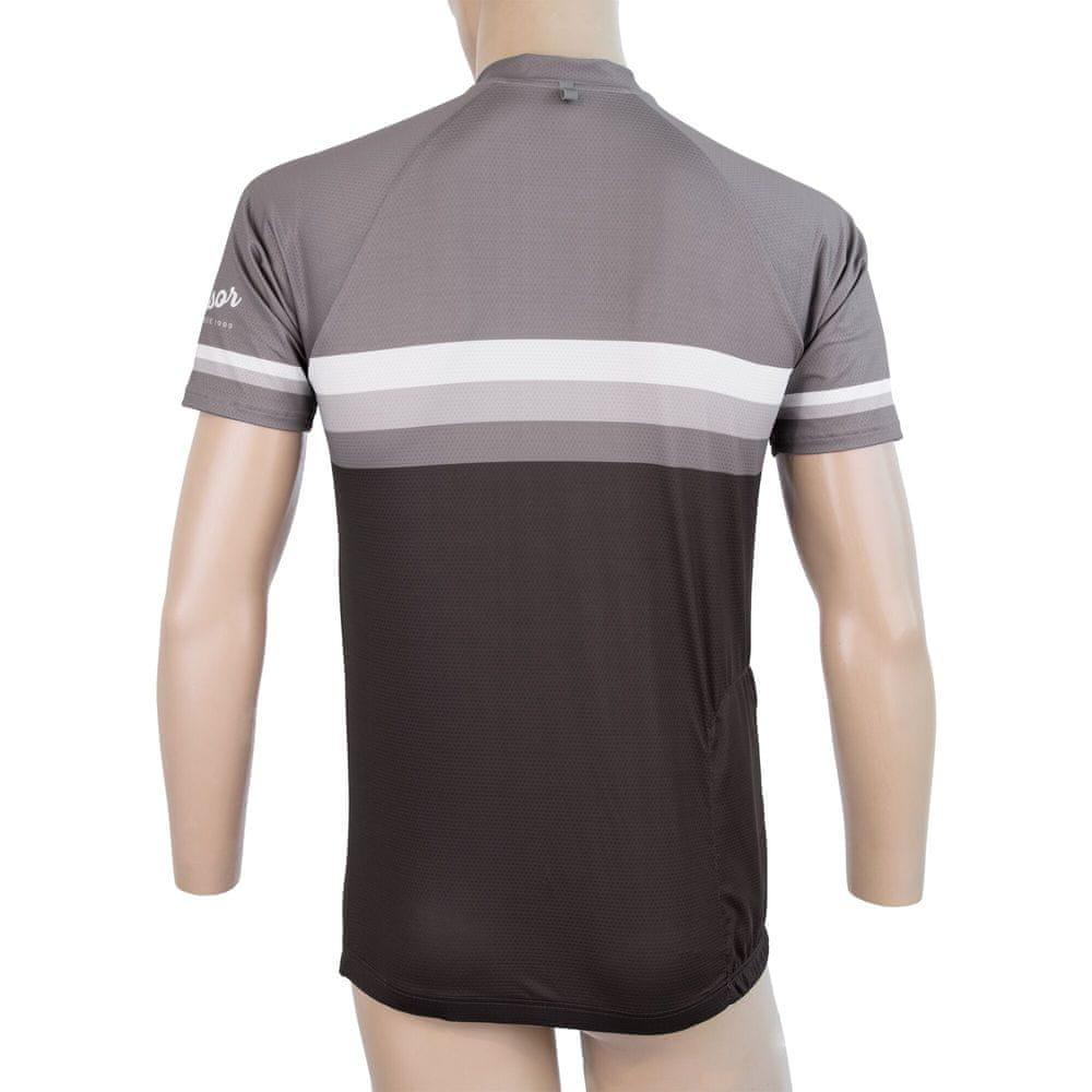 Sensor Cyklo Summer Stripe pánský dres kr.rukáv černá/šedá -M