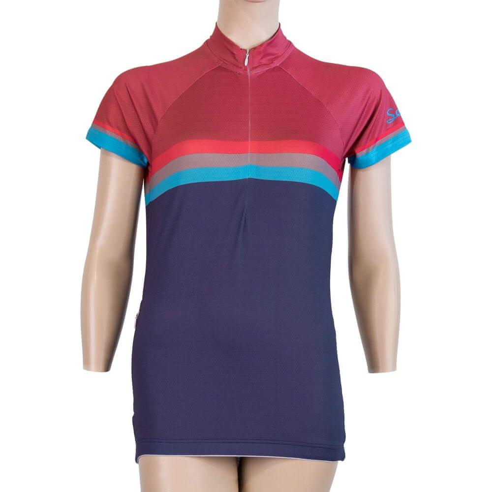 Sensor Cyklo Summer Stripe dámský dres kr.rukáv modrá/lilla -XL
