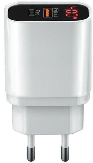 Forever Rychlonabíječka do sítě Core USB QC 3.0 a USB-C PD s digitálním displejem, 20 W, bílá GSM045483