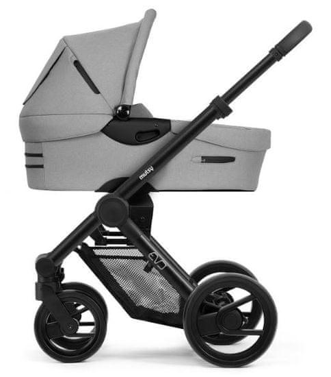 MUTSY EVO kompletní kočárek Grip Grey Frame Black Black Wheels 2020/Bold Pebble Grey