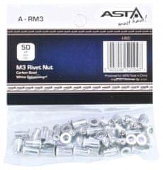 ASTA Maticové nýty M3 x 10 mm, s plochou hlavou, ocel, balení 50 ks - ASTA
