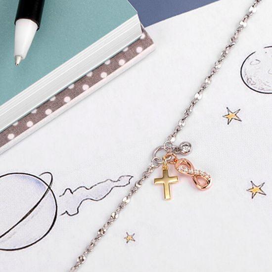 La Petite Story Stal trójkolorowa bransoletka Infinity s krzyż kem LPS05AQA02