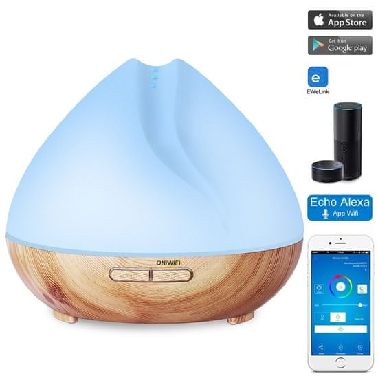 """GOLDSUN Dyfuzor zapachowy Aroma """"Mandala 400ml"""" odświeżacz powietrza i nawilżaczem SMART - Jasne drewno"""