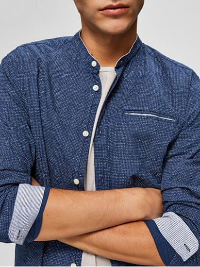 Selected Homme Moška majica SLHSLIMLAKE SHIRT LS MIX W Dark Sapphire AOP