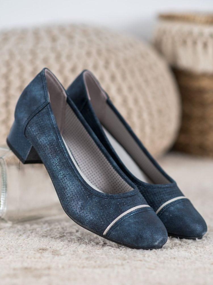 Stylové dámské lodičky modré na širokém podpatku, odstíny modré, 38