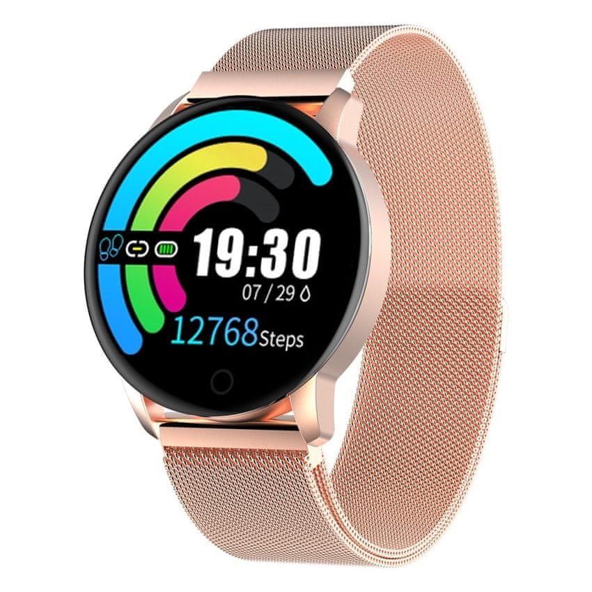 NEOGO SmartWatch QS20, chytré hodinky, růžovo zlaté/kovové