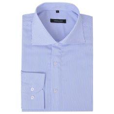 shumee Męska koszula biznesowa biała w błękitne paski rozmiar XL